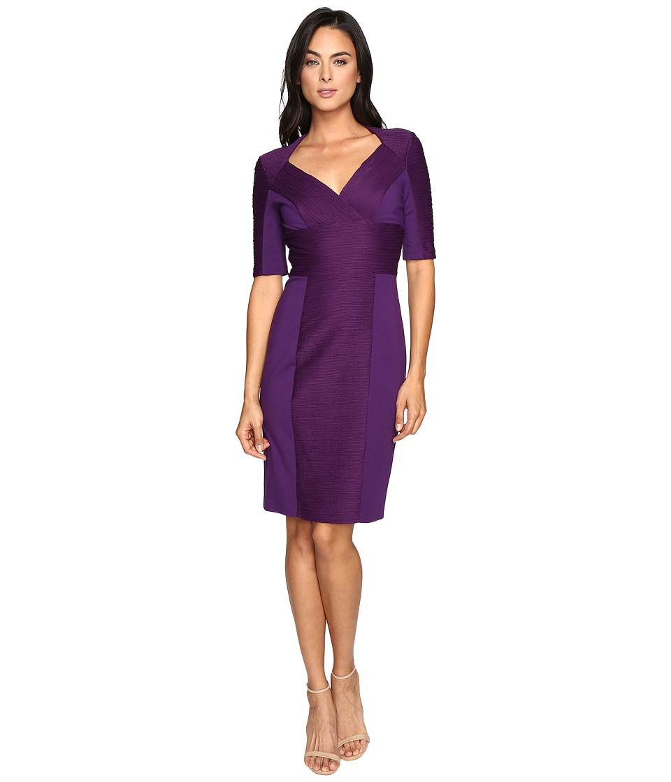 NUE by Shani Cross-Over V-neck Knit Dress (Purple) Women