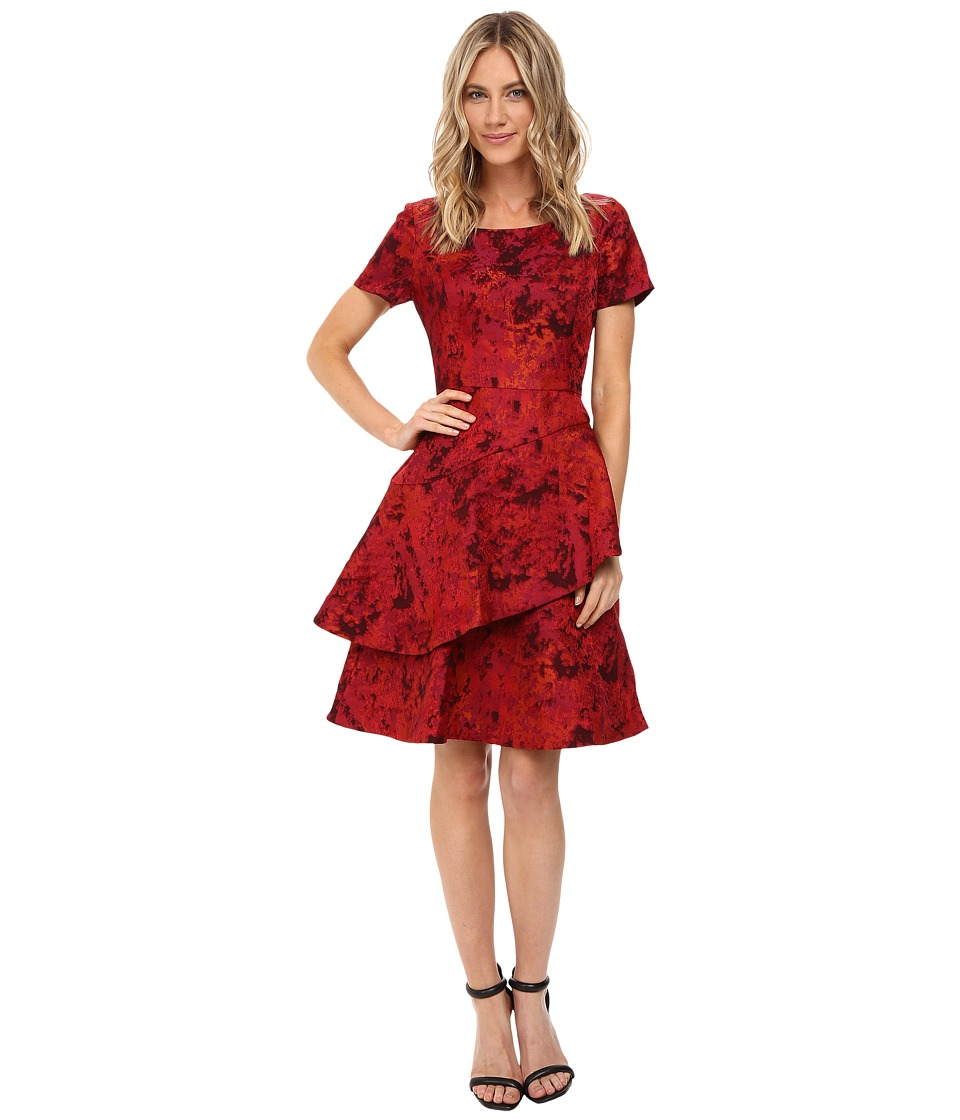 NUE by Shani - Jacquard Dress with Tiered-Fit and Flare Skirt (Red) Women's Dress