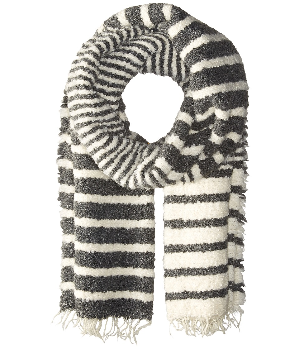 rag & bone - Ava Striped Scarf (Light Heather Grey) Scarves