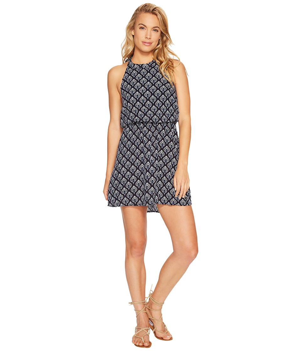 Roxy Really Unique Halter Dress (Dress Blue Peacock Leaves) Women