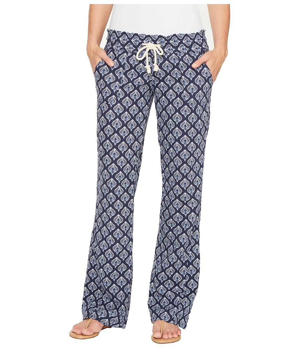 Roxy - Oceanside Printed Beach Pant (Dress Blue Peacock Leaves) Women's Casual Pants