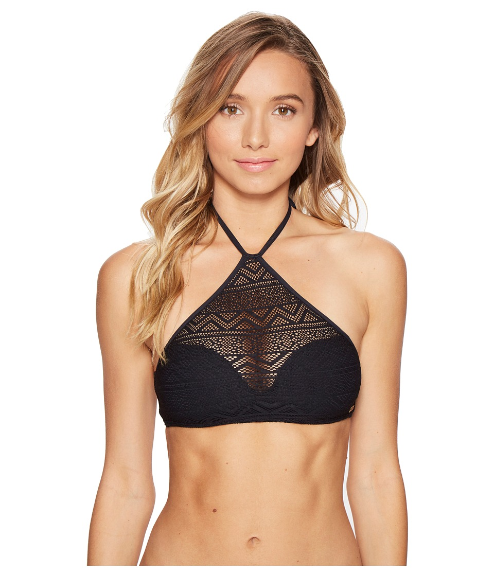 Roxy - Tribal Maze Crop Bikini Top (Anthracite) Women's Swimwear