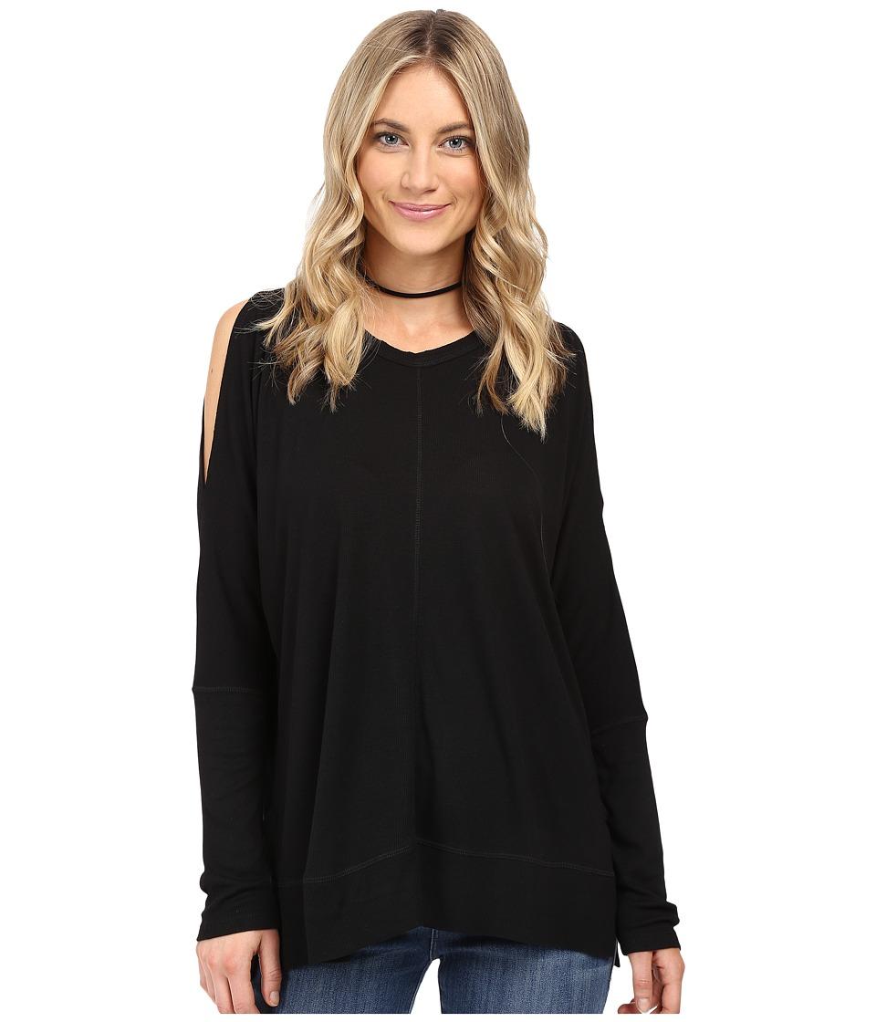 HEATHER - Long Sleeve Peekaboo Shoulder Boxy Top (Black) Women's Clothing