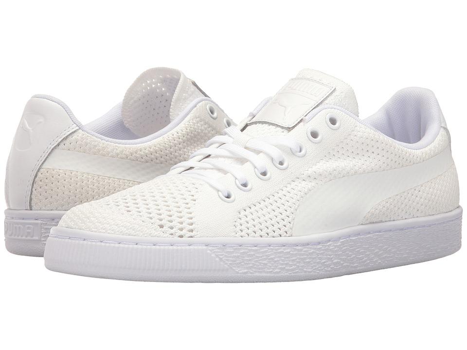 PUMA - Basket Classic Evoknit (Puma White/Puma White/Puma White) Men's Shoes