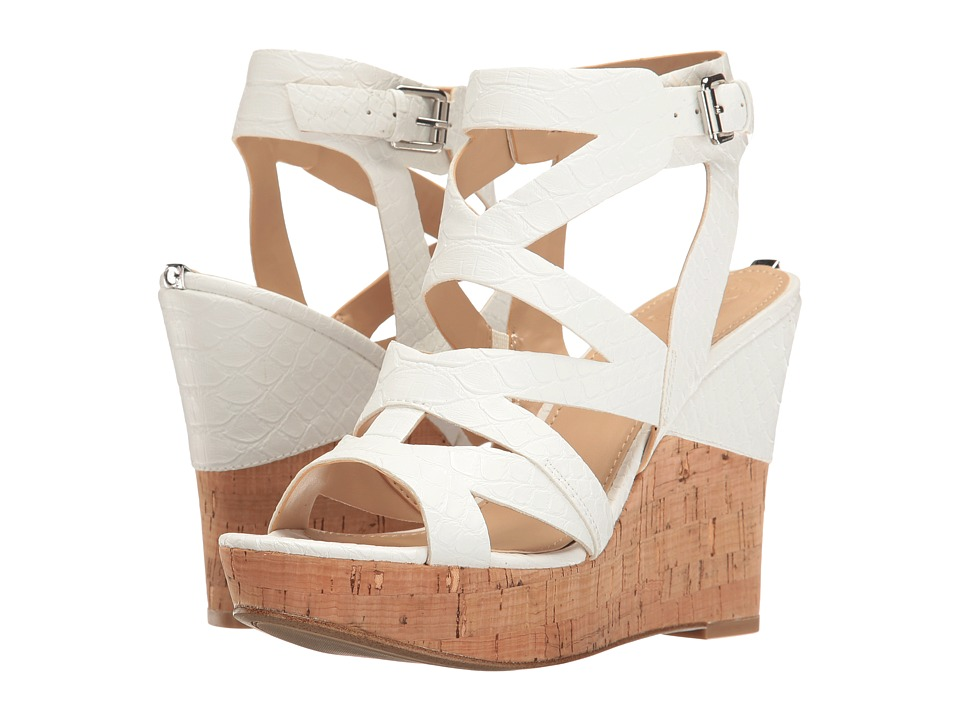 GUESS - Hannele (White Snake) Women's Wedge Shoes