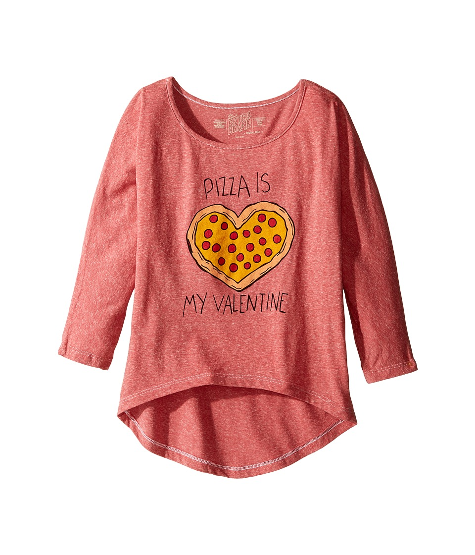 The Original Retro Brand Kids - Pizza Is My Valentine 3/4 Dolman Tee (Little Kids/Big Kids) (Streaky Red) Girl's T Shirt