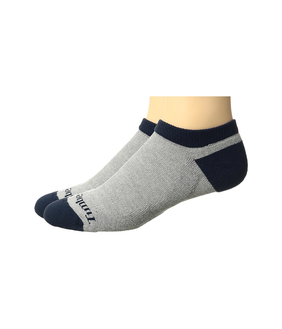 Timberland - No Show 2-Pack (Grey) Men's Crew Cut Socks Shoes