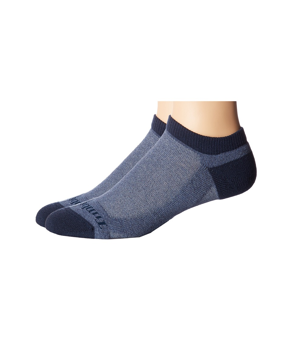 Timberland - No Show 2-Pack (Denim Heather) Men's Crew Cut Socks Shoes
