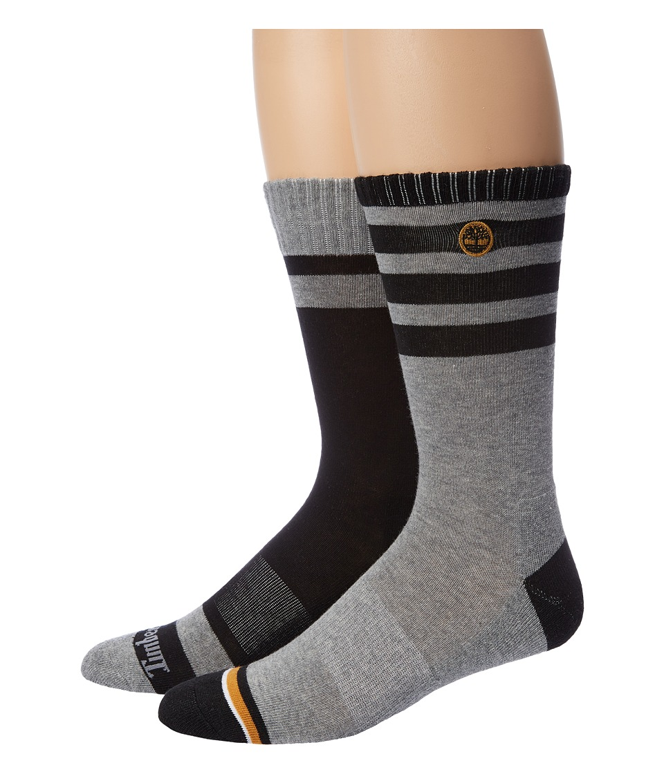 Timberland - Multi-Stripe Crew 2-Pack (Assorted Black/Grey Heather) Men's Crew Cut Socks Shoes