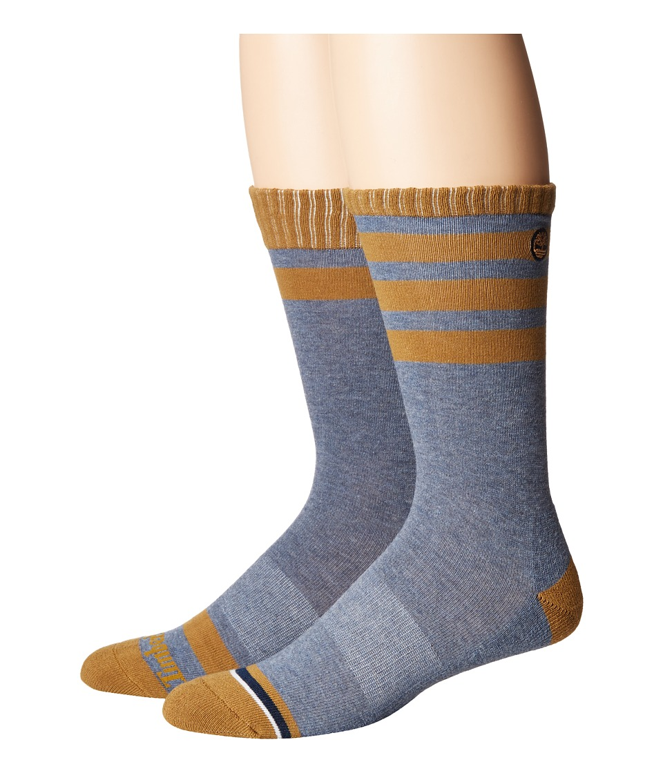 Timberland - Multi-Stripe Crew 2-Pack (Assorted Denim Heather/Bronze) Men's Crew Cut Socks Shoes