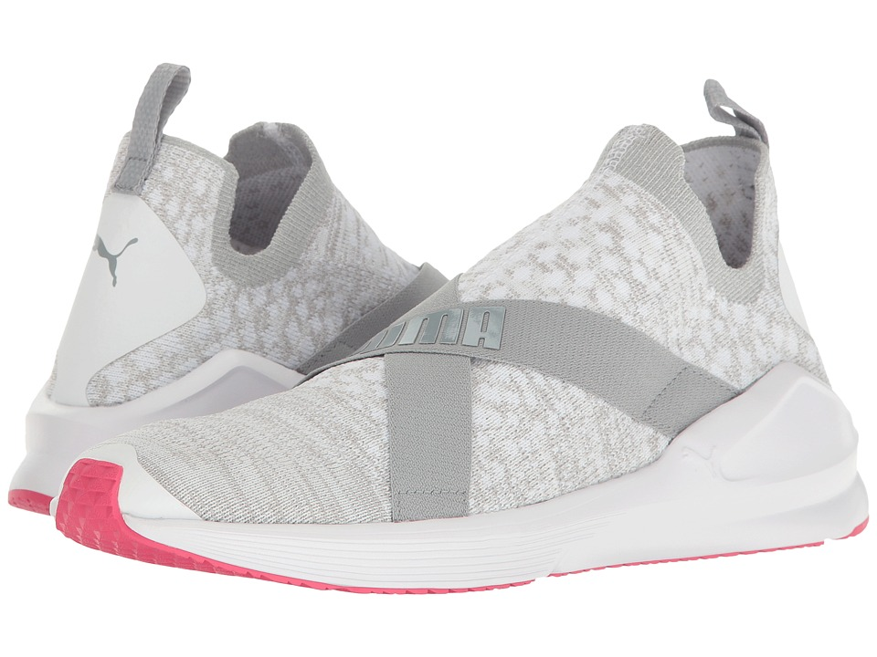 PUMA - Fierce Evoknit (Puma White/Quarry/Sparkling Cosmo) Women's Shoes