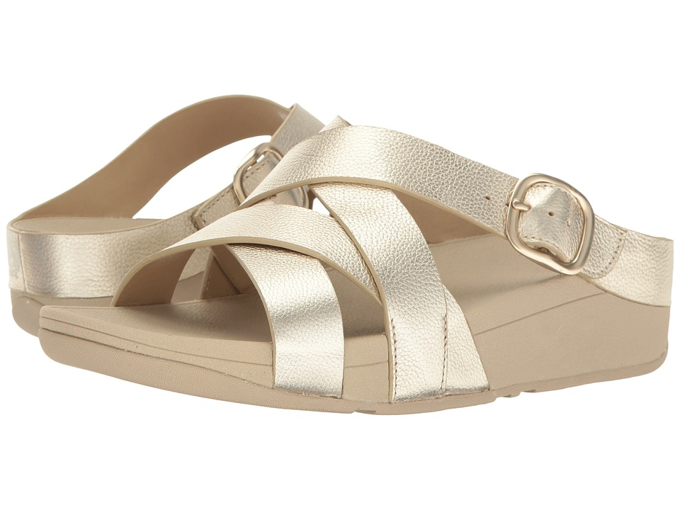 FitFlop - The Skinny Crisscross Slide (Pale Gold) Women's Slide Shoes