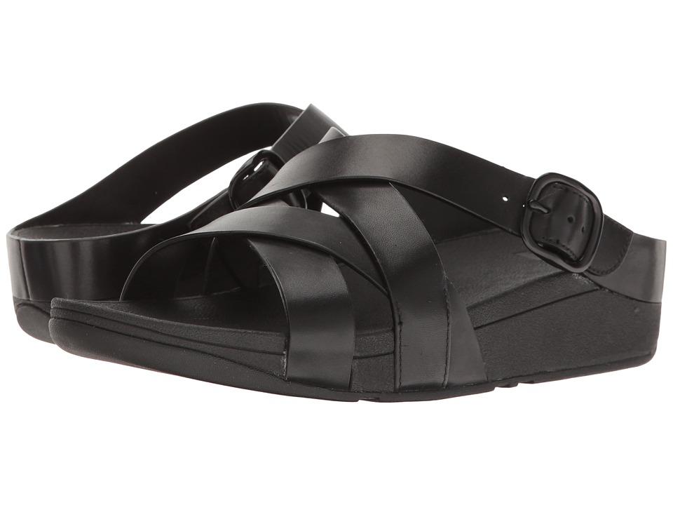 FitFlop - The Skinny Crisscross Slide (All Black) Women's Slide Shoes
