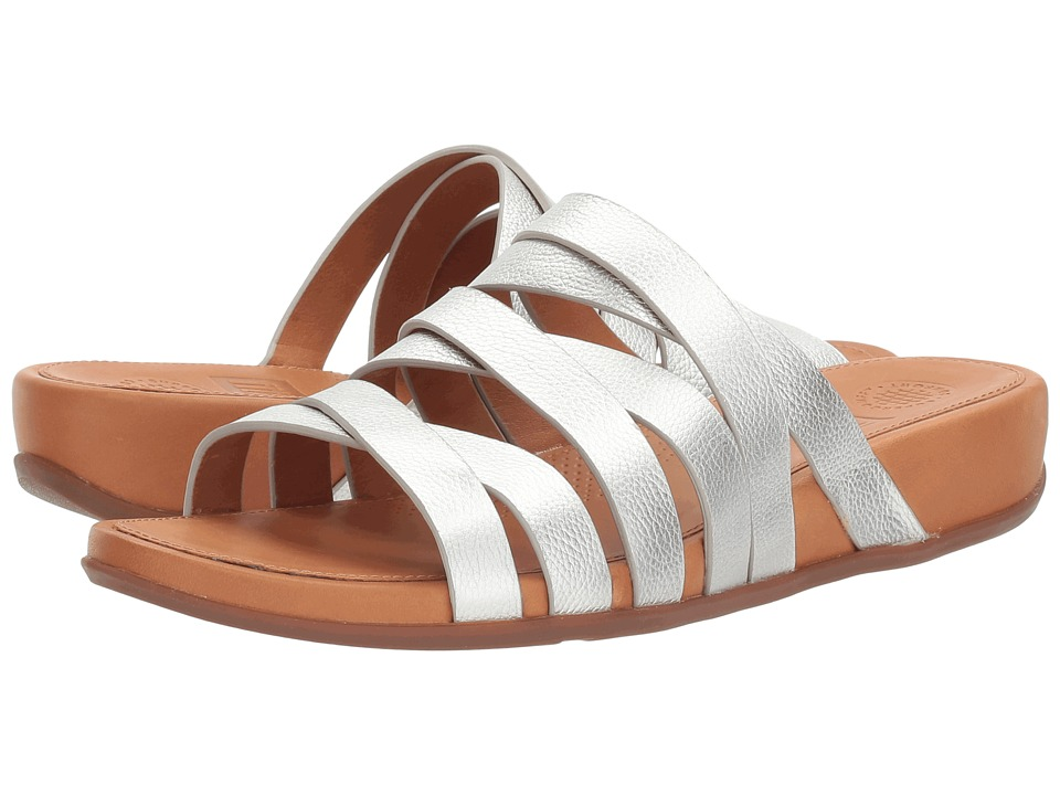 Photo of FitFlop Lumy Leather Slide Silver Slide Shoes - shop  on sale