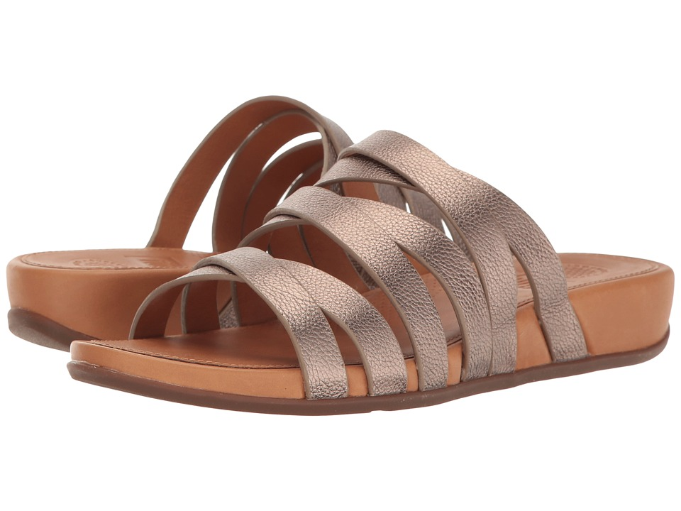 FitFlop - Lumy Leather Slide (Bronze) Women's Slide Shoes
