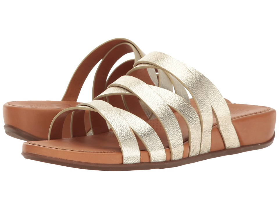 FitFlop - Lumy Leather Slide (Pale Gold) Women's Slide Shoes