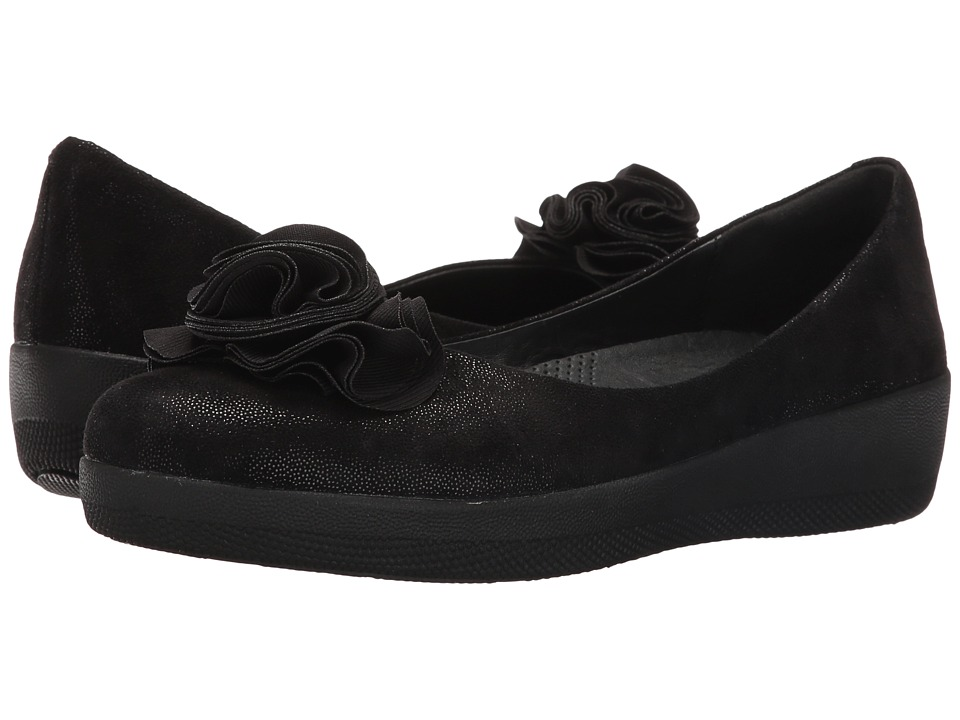 FitFlop - Florrie Superballerina (Black Glimmer) Women's Shoes