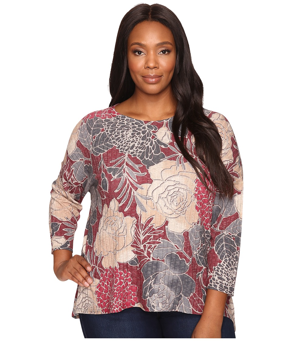 Nally & Millie - Plus Size Burgundy Floral Printed Top (Multi) Women's Clothing