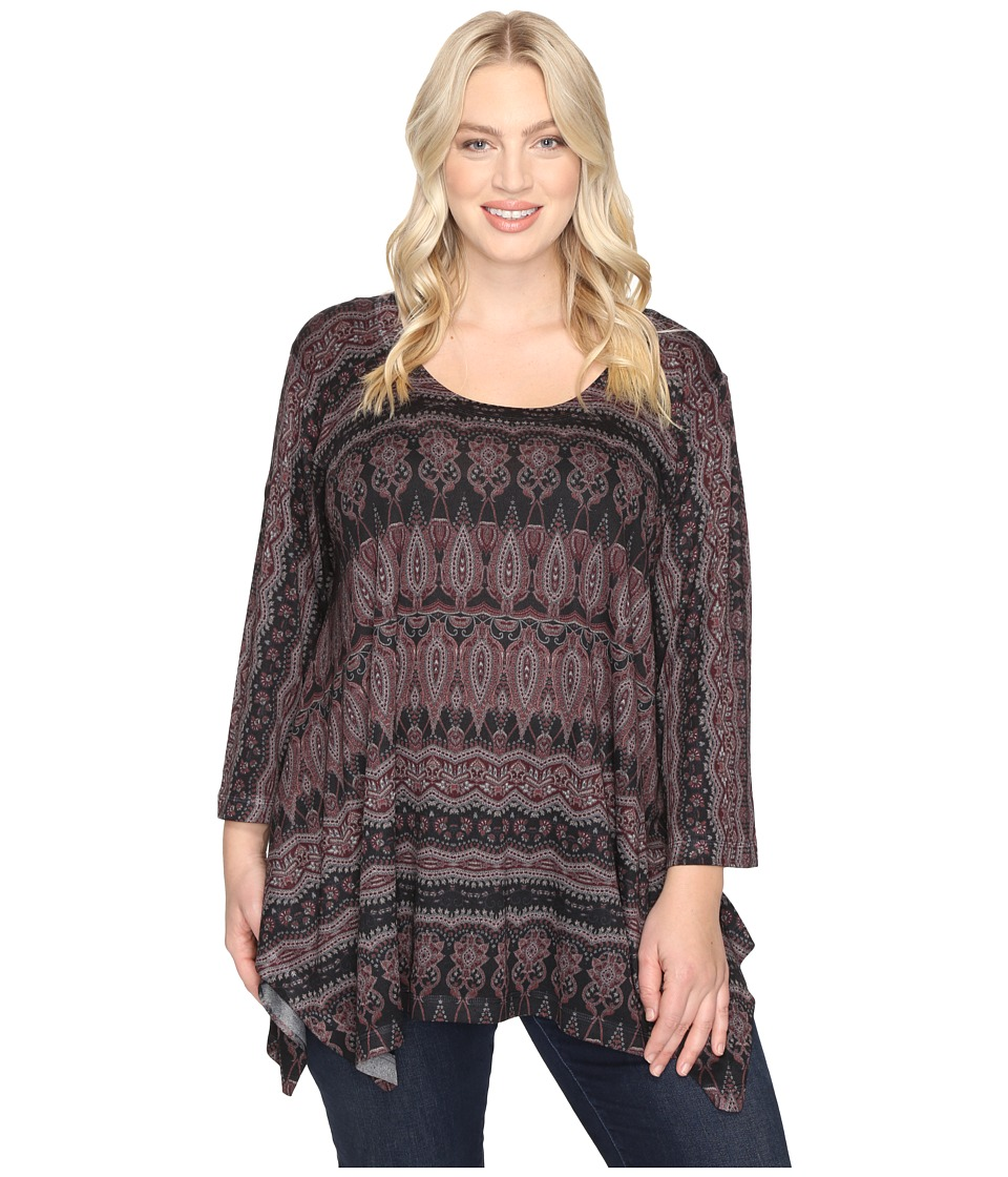 Nally & Millie - Plus Size Paisley Border Print Tunic (Multi) Women's Blouse