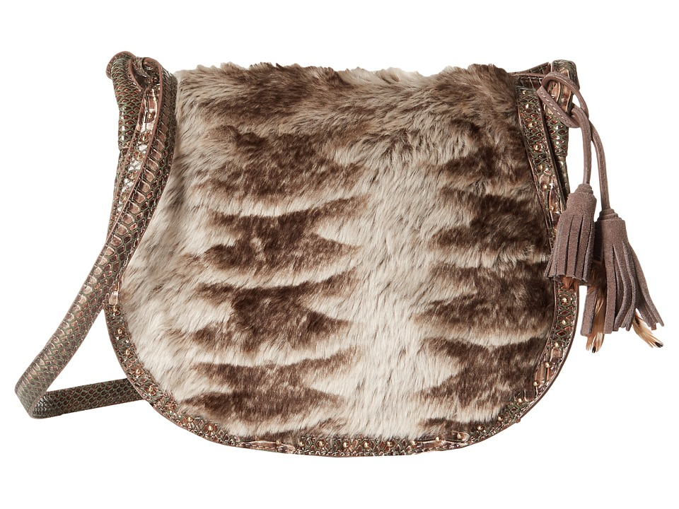 Steven - Eldora Faux Fur Saddle Bag (Taupe) Bags