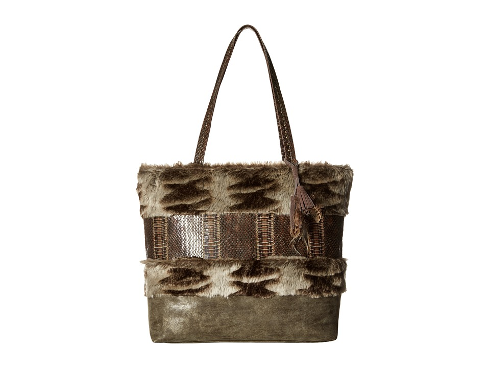 Steven - Aspin Faux Fur Tote (Taupe) Tote Handbags
