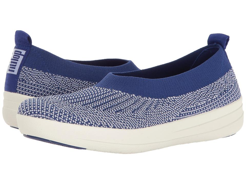 FitFlop - Uberknit Ballerina (Mazarine Blue/White) Women's Slip on Shoes