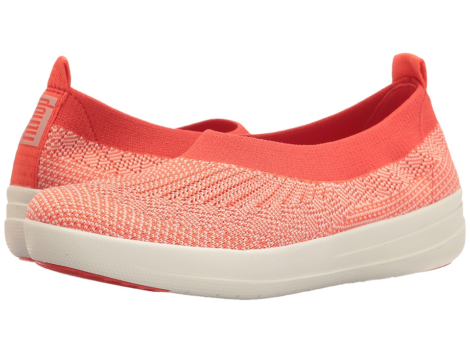 FitFlop - Uberknit Ballerina (Hot Coral/Neon Blush) Women's Slip on Shoes