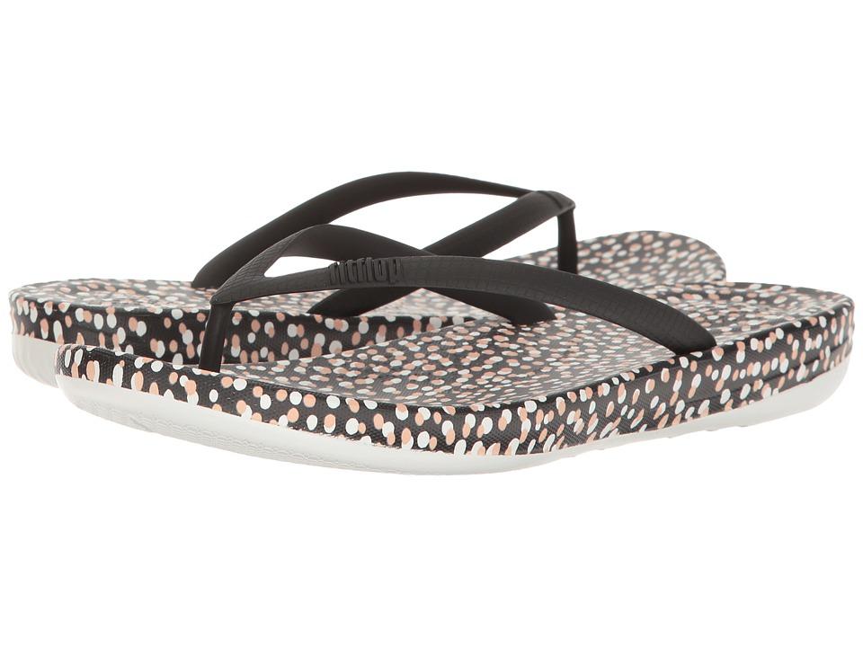 FitFlop - Iqushion Ergonomic Bubbles Flip-Flop (Black Bubbles) Women's Sandals