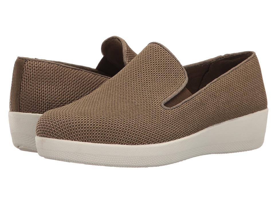 FitFlop - Uberknit Slip-On Skate (Dark Olive/Nude) Women's Slip on Shoes