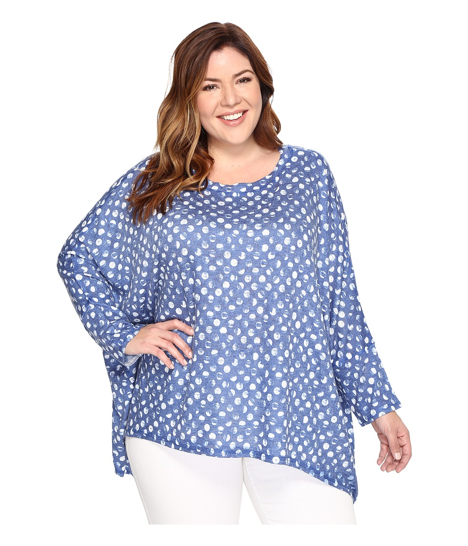 Nally & Millie - Plus Size Blue/White Dot Print Poncho (Multi) Women's Clothing