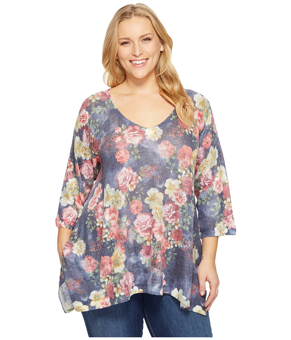 Nally & Millie - Plus Size Rose Floral Print Tunic (Multi) Women's Blouse