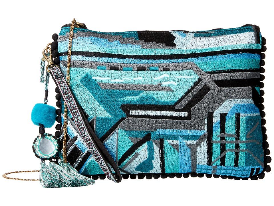 Steven - Lisbon Stitch Clutch (Blue) Clutch Handbags