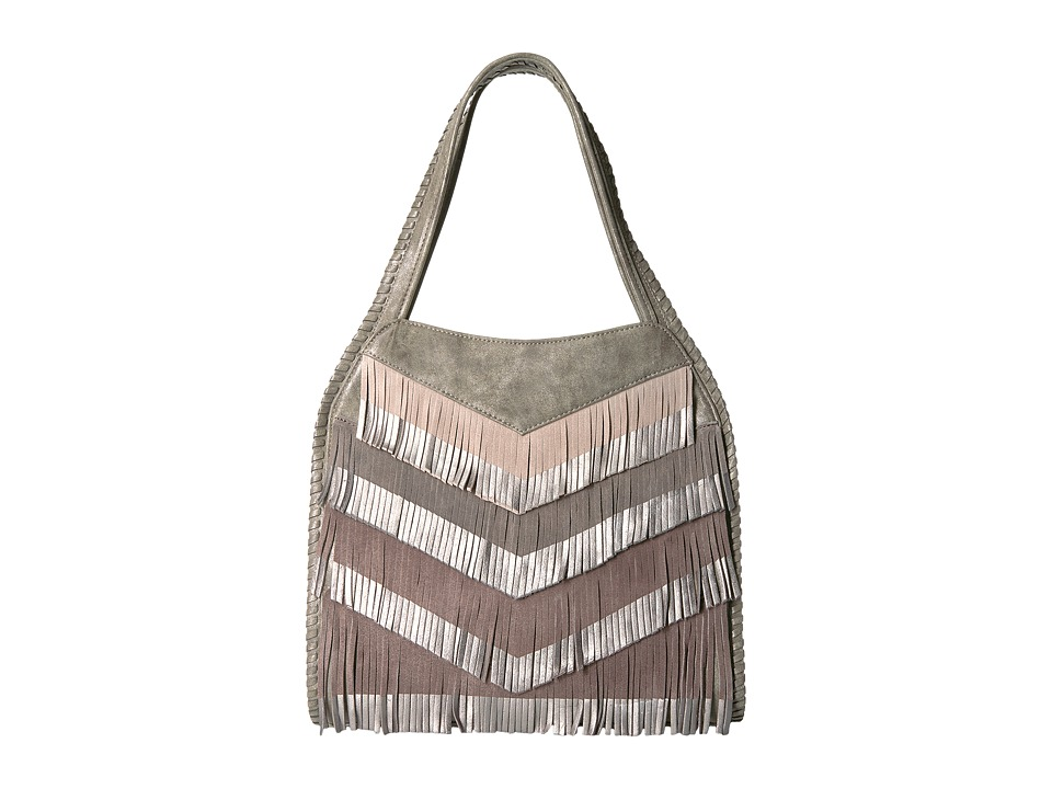 Steven - Elsa Fringe Hobo (Charcoal) Hobo Handbags