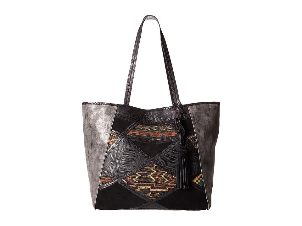 Steven - Myles Tapestry Tote (Black) Tote Handbags