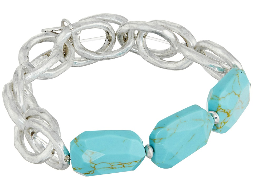 The Sak - Beaded Link Stretch Bracelet (Turquoise) Bracelet