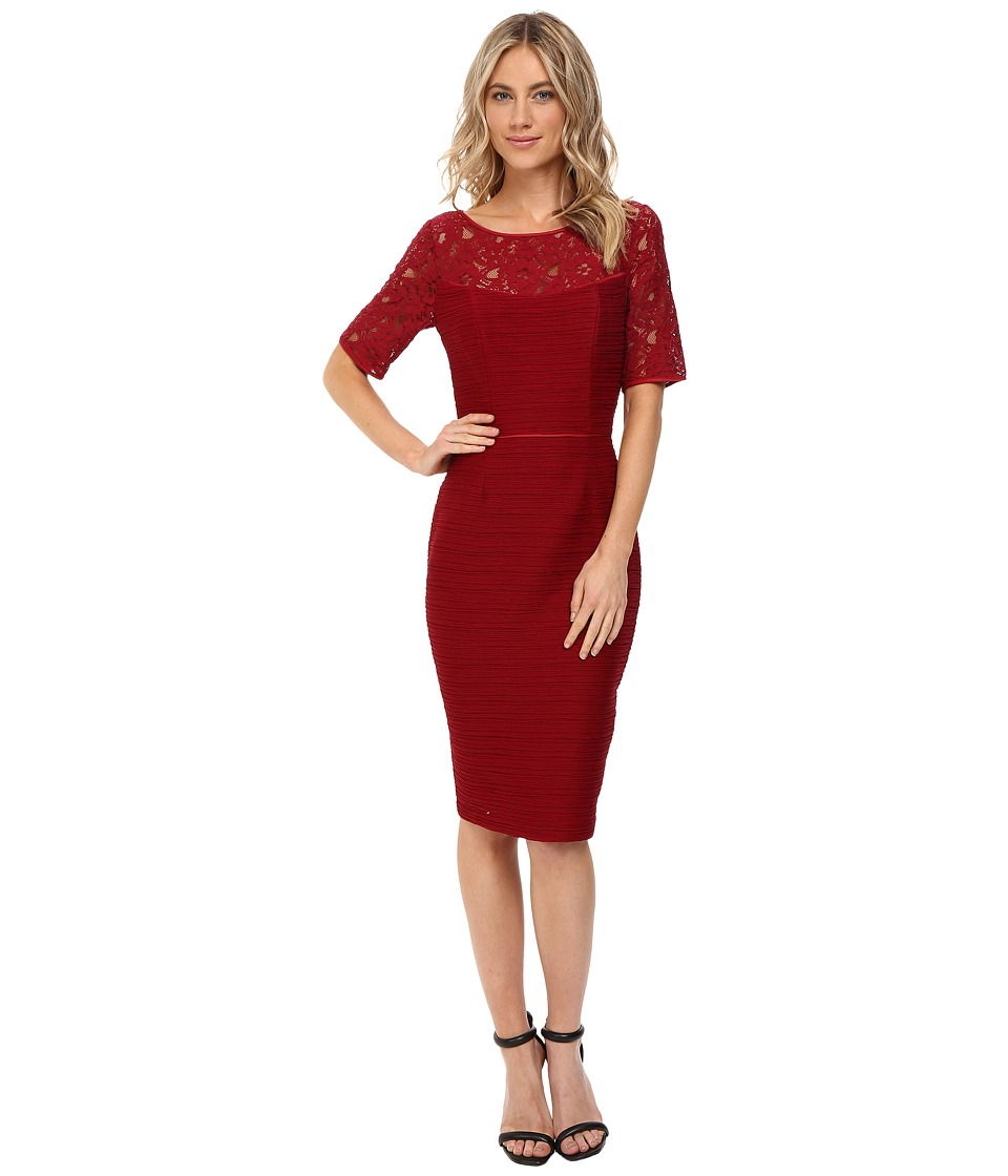 NUE by Shani Ottoman Knit Dress with Lace Yoke and Sleeves (Wine) Women