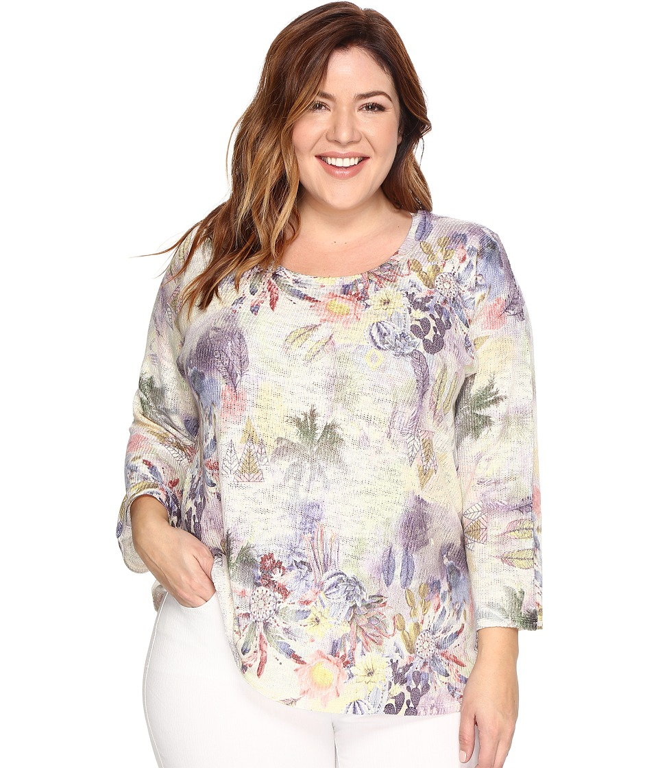 Nally & Millie - Plus Size Island Tropical Print Tunic (Multi) Women's Clothing
