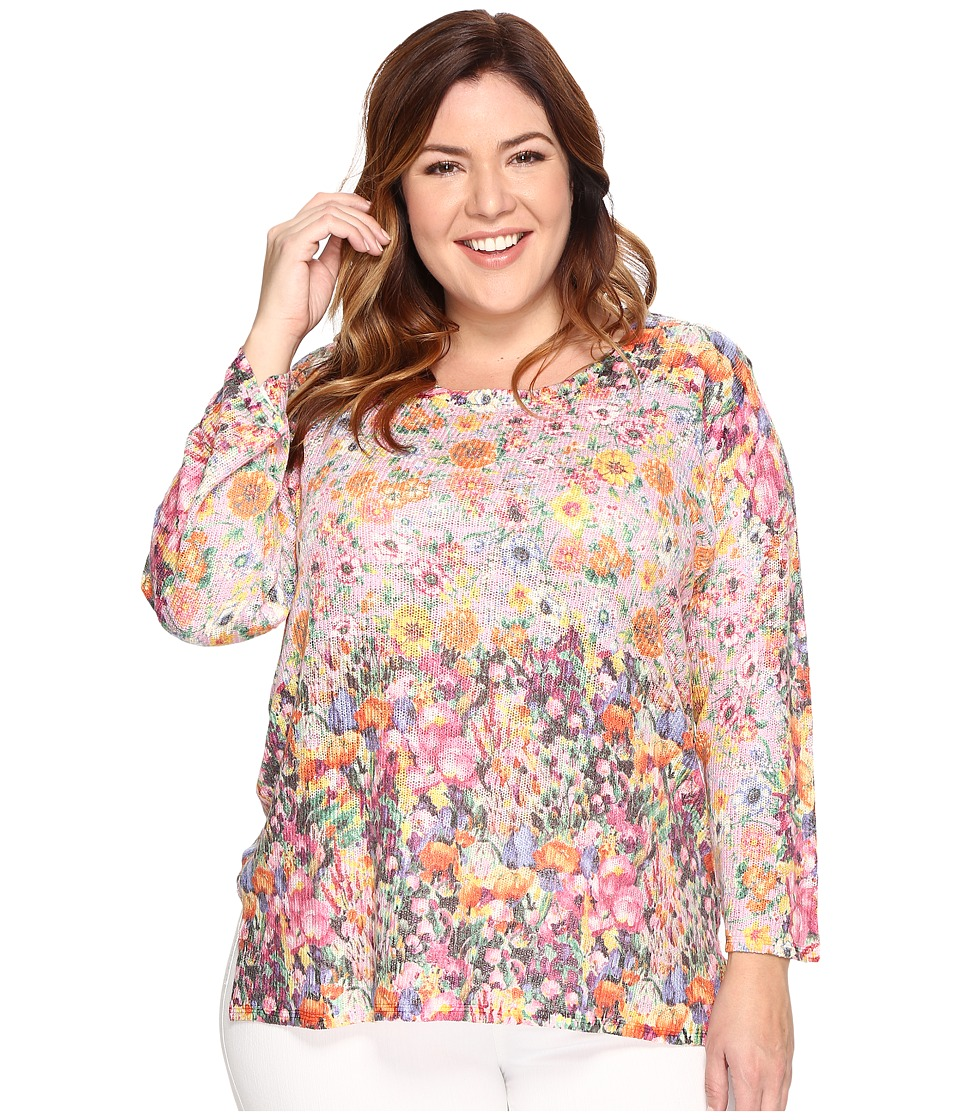 Nally & Millie - Plus Size Pink Floral Border Print Tunic (Multi) Women's Sweater