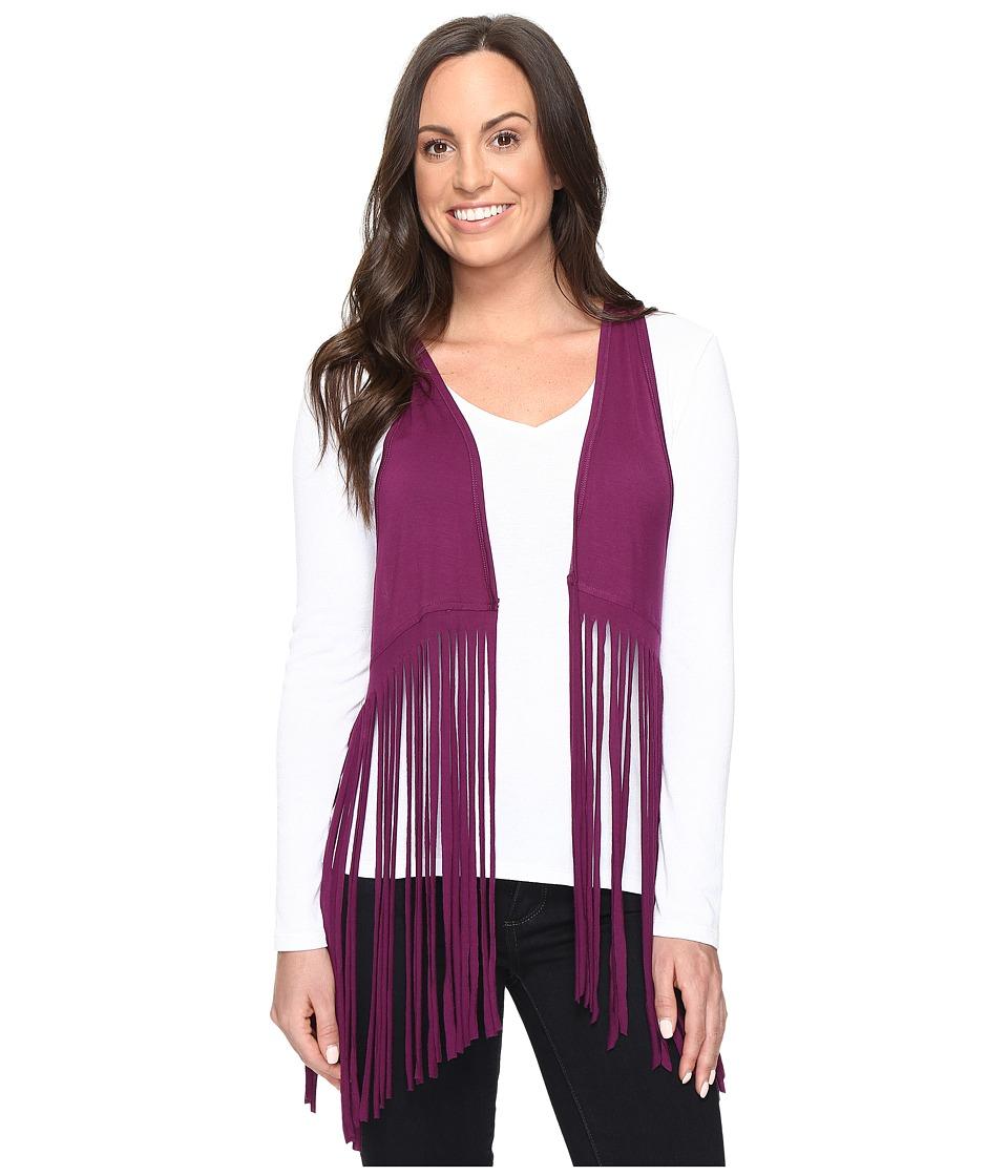 Cruel - Jersey Knit Vest Fringe Detail (Burgundy) Women's Vest