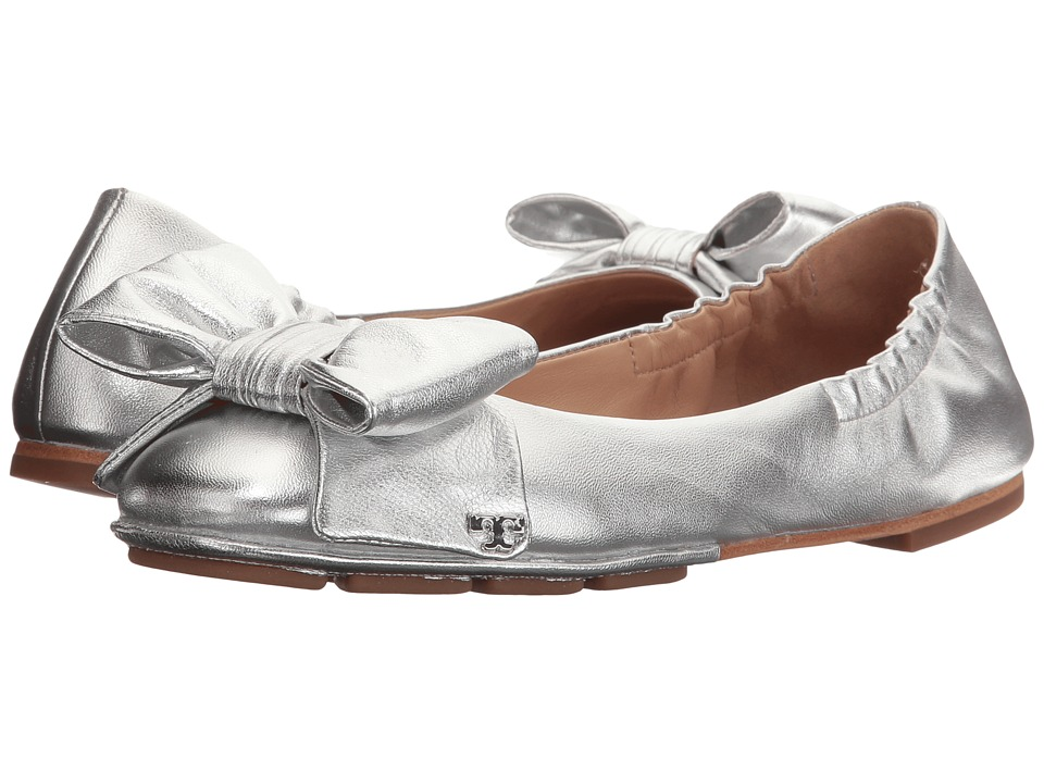 Tory Burch - Divine Bow Driver Ballet (Silver) Women's Ballet Shoes