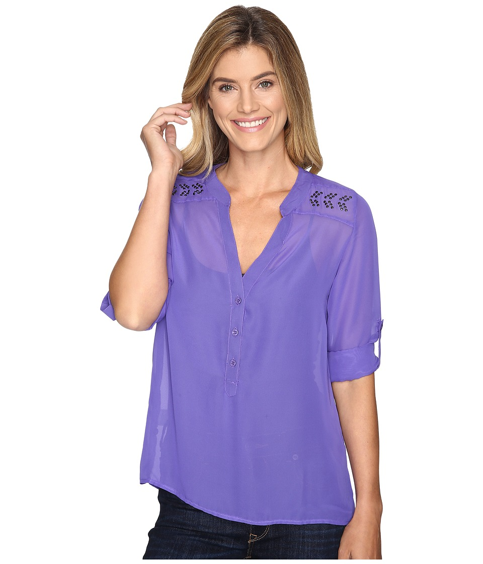 Cruel - Long Sleeve Chiffon Roll Tab Sleeve Top (Purple) Women's Long Sleeve Pullover
