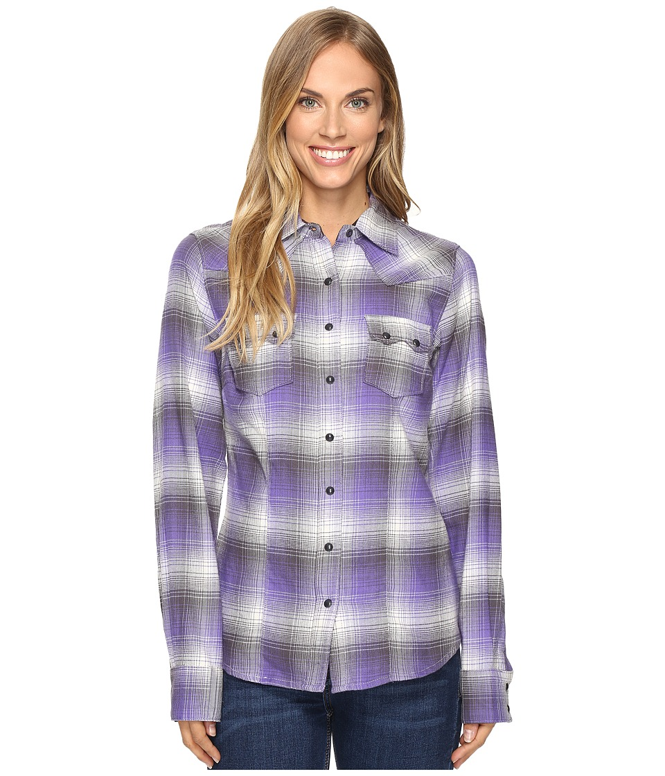 Cruel - Arena Fit Plaid Long Sleeve (Purple) Women's Long Sleeve Pullover
