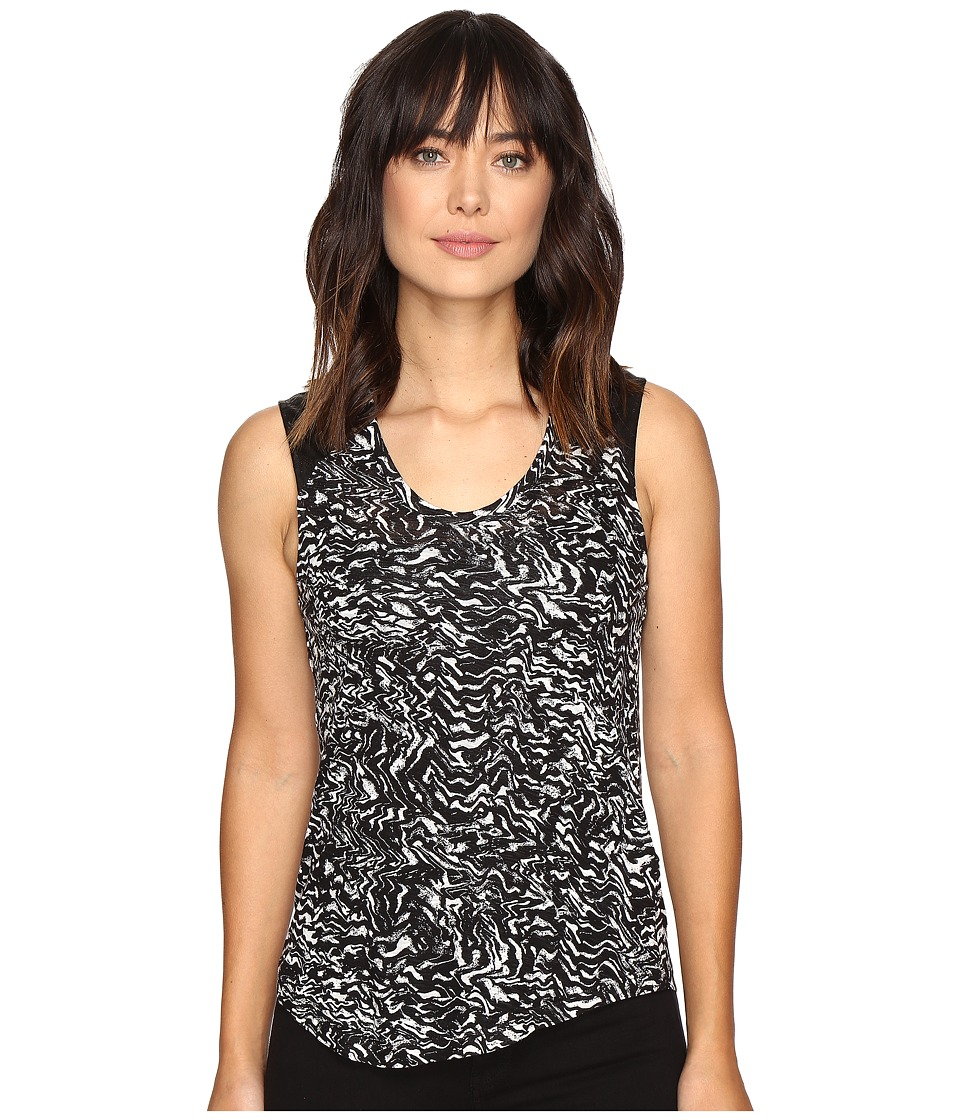 Calvin Klein Jeans - Printed Lace Pieced Sleeveless Knit Shirt (Black) Women's Short Sleeve Knit