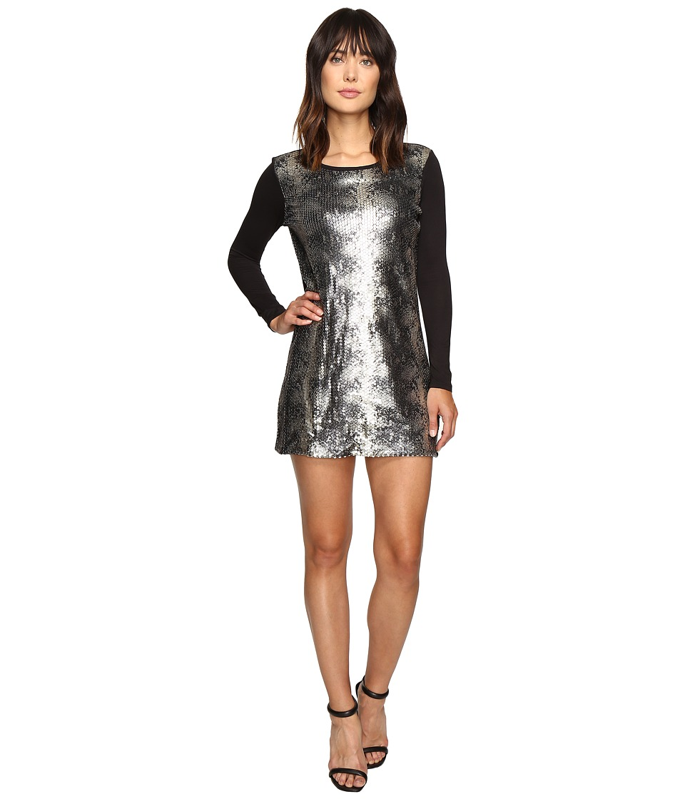 Calvin Klein Jeans Sequin Front Long Sleeve Dress (Black) Women