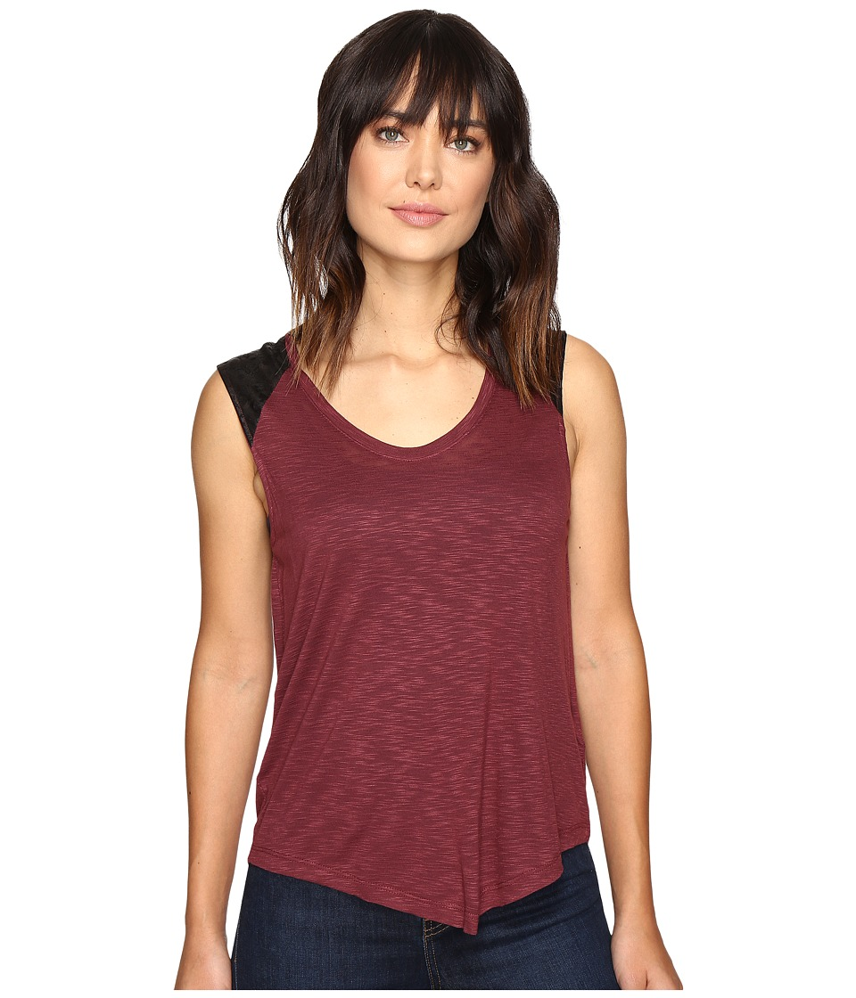 Calvin Klein Jeans Lace Pieced Sleeveless (Red Mahogany) Women