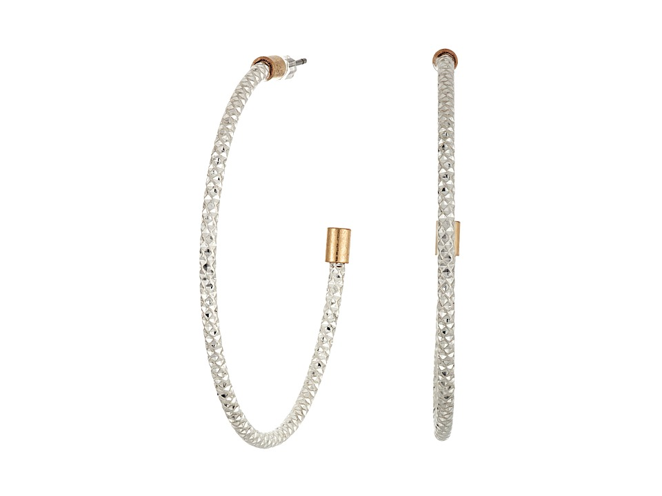 The Sak - Large Textured Hoop Earrings (Silver) Earring