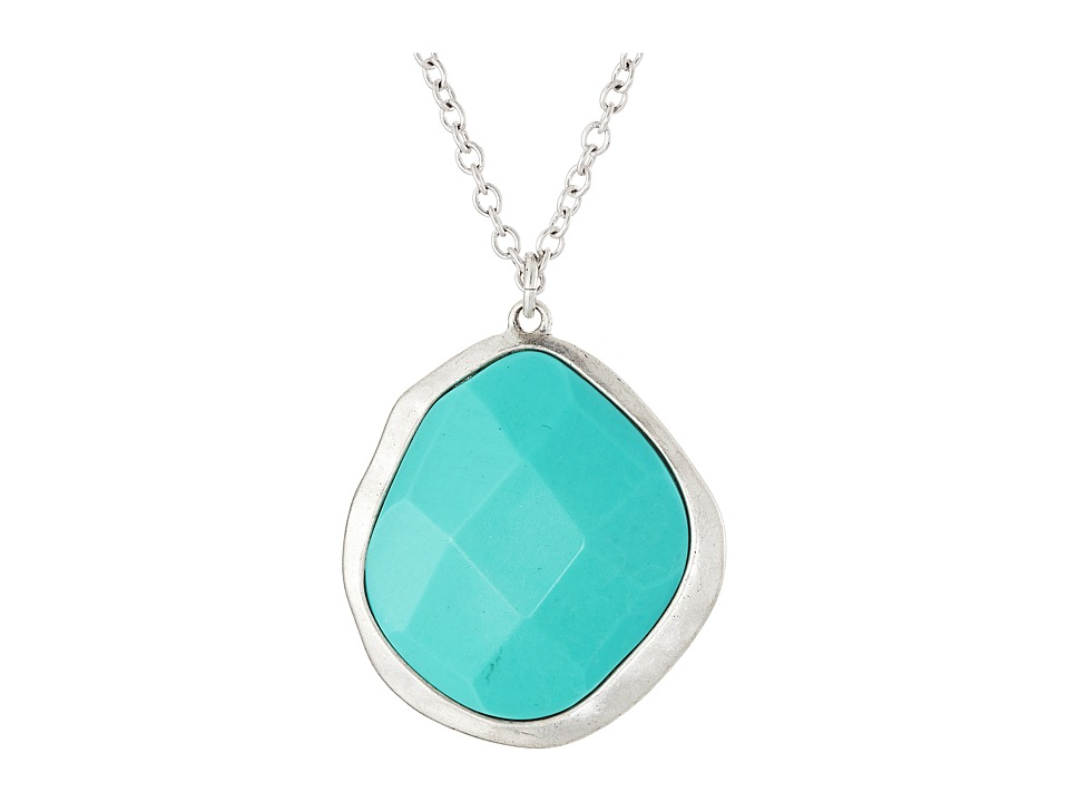 The Sak - Stone Pendant Chain Necklace 36 (Turquoise) Necklace