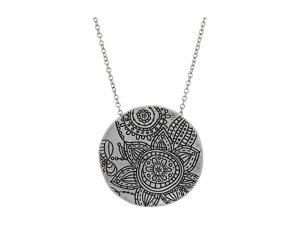 The Sak - Etched Flower Pendant Necklace 28 (Silver) Necklace
