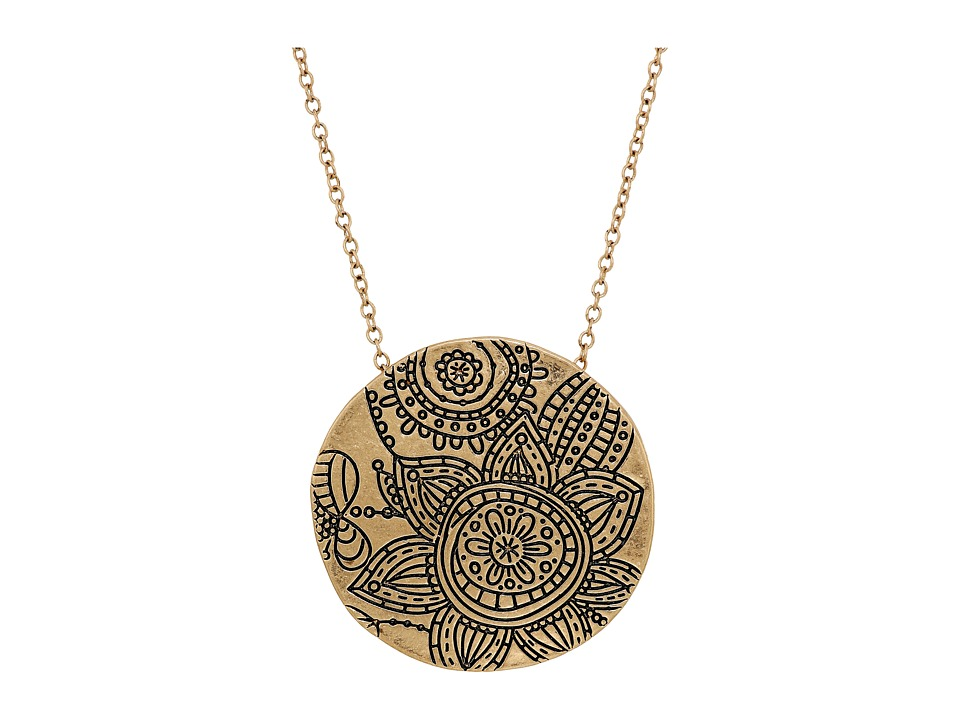 The Sak - Etched Flower Pendant Necklace 28 (Gold) Necklace