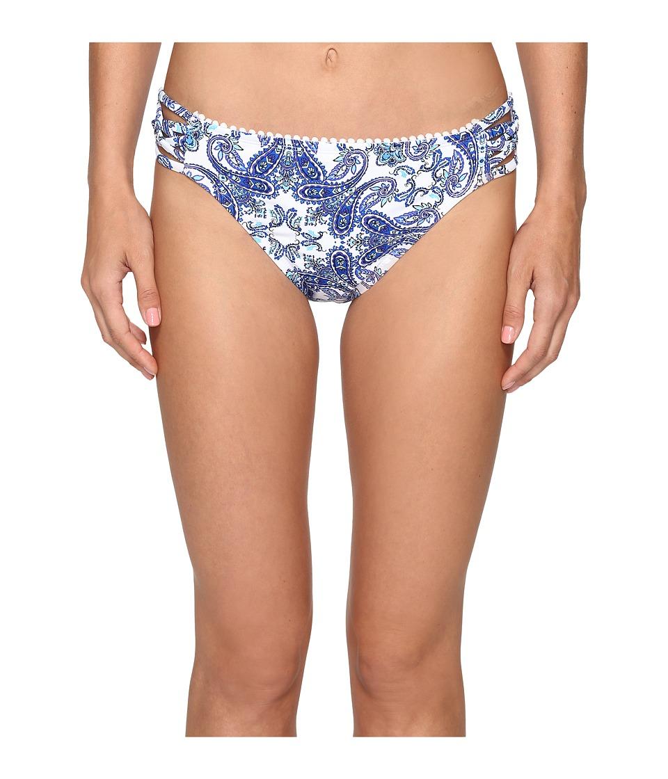 Bleu Rod Beattie - Driving Miss Paisley Lattice Side Hipster Bottom (Navy) Women's Swimwear